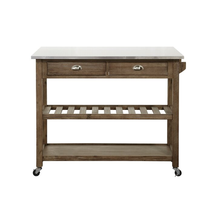 Mraz Kitchen Cart with Stainless Steel Top