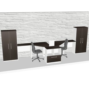 Compact Space Maximum Collaboration 8 Piece L-Shape Desk Office Suite
