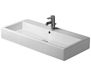 Duravit Vero Ceramic Rectangular Wall Mount Bathroom Sink with Overflow