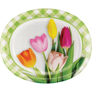 Hollister Tulips Oval Paper Disposable Dinner Plate (Set of 24)
