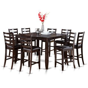 Red Barrel Studio Tamarack 9 Piece Counter Height Extendable Solid Wood Dining Set