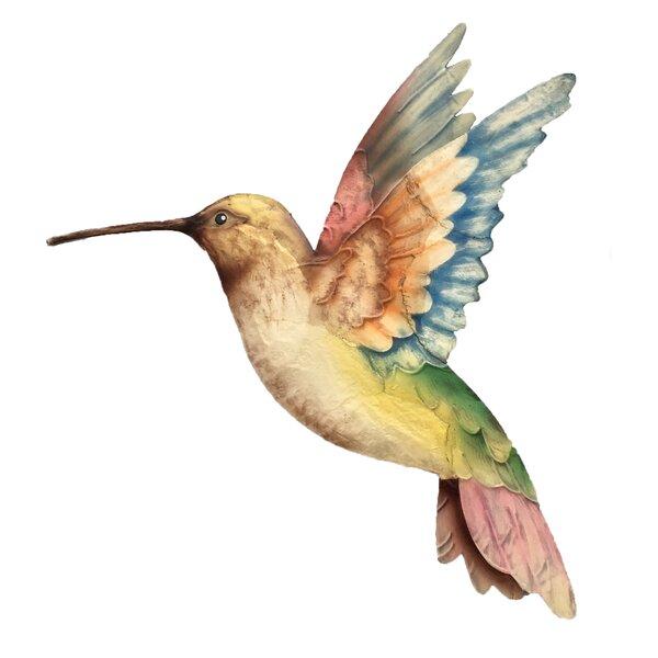 Iridescent finish of 16 gauge metal hummingbird Right face Hummingbird wall art
