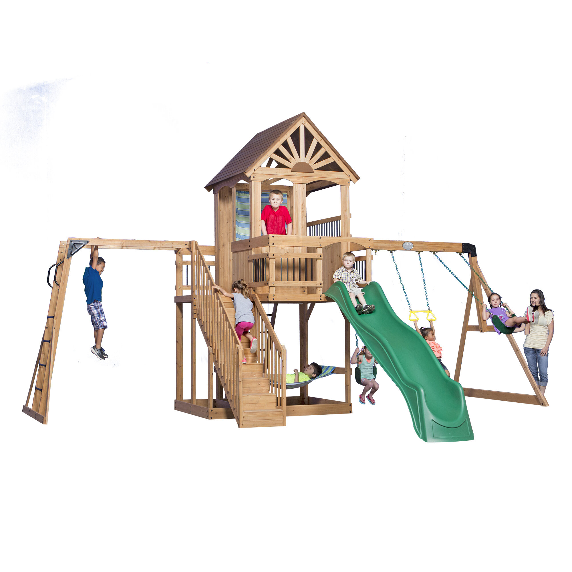 Backyard Discovery Oceanview All Cedar Swing Set Reviews Wayfair