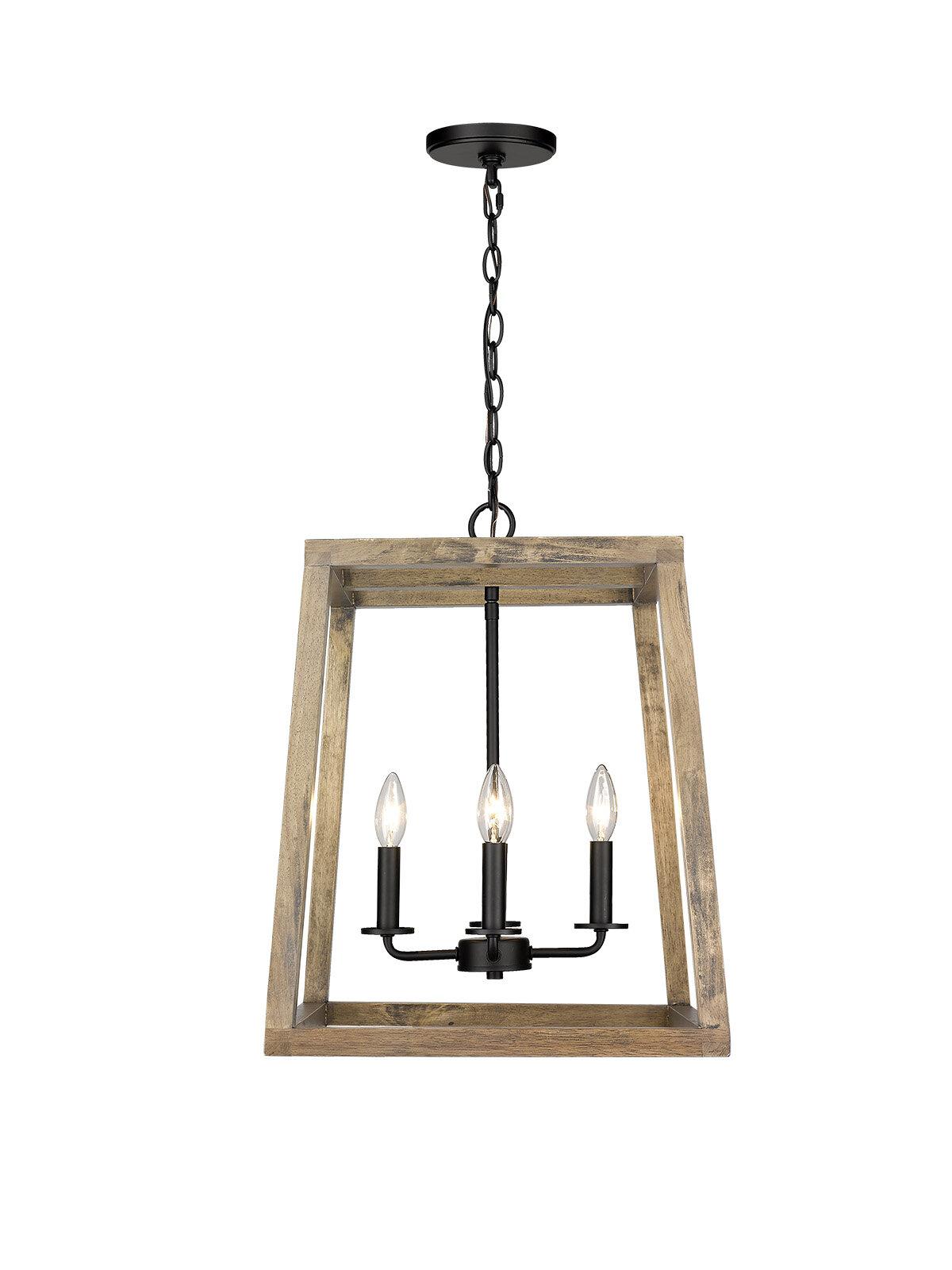 Gracie Oaks Madina 4 Light Lantern Geometric Pendant With Wood Accents Wayfair