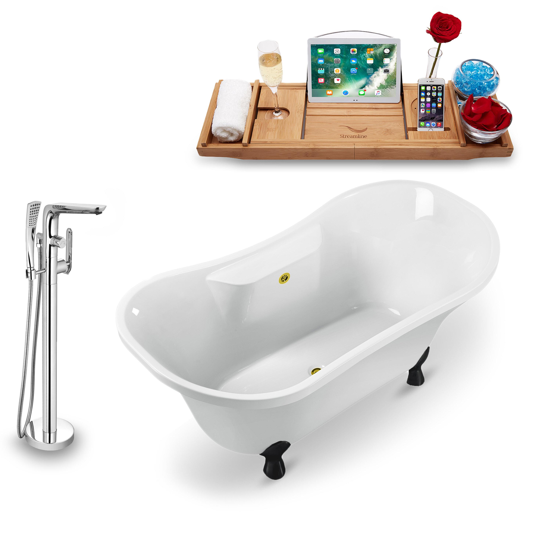 60 X 32 Clawfoot Soaking Bathtub With Tray