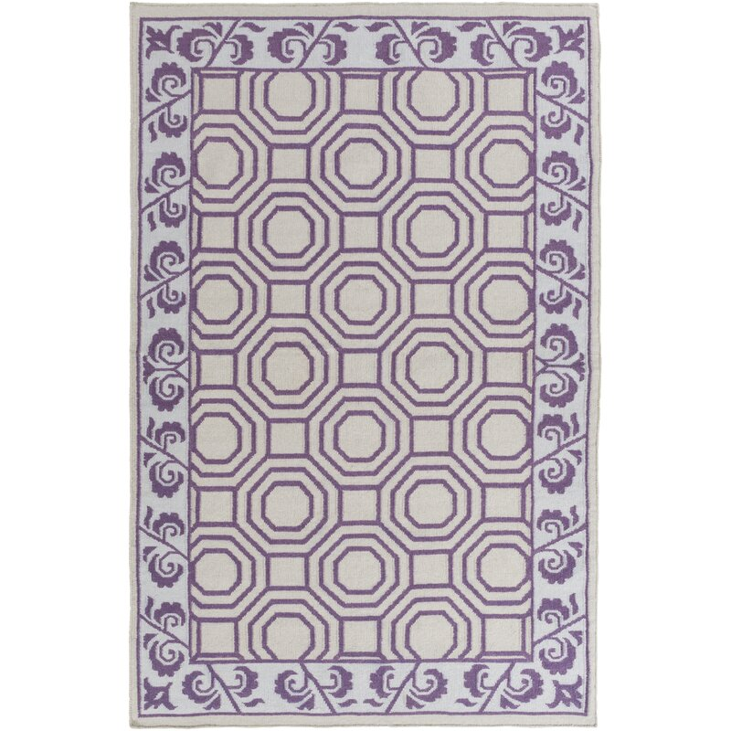 Bay Isle Home Morehead Light Gray/Violet Geometric Area Rug, Size: Rectangle 8 x 11