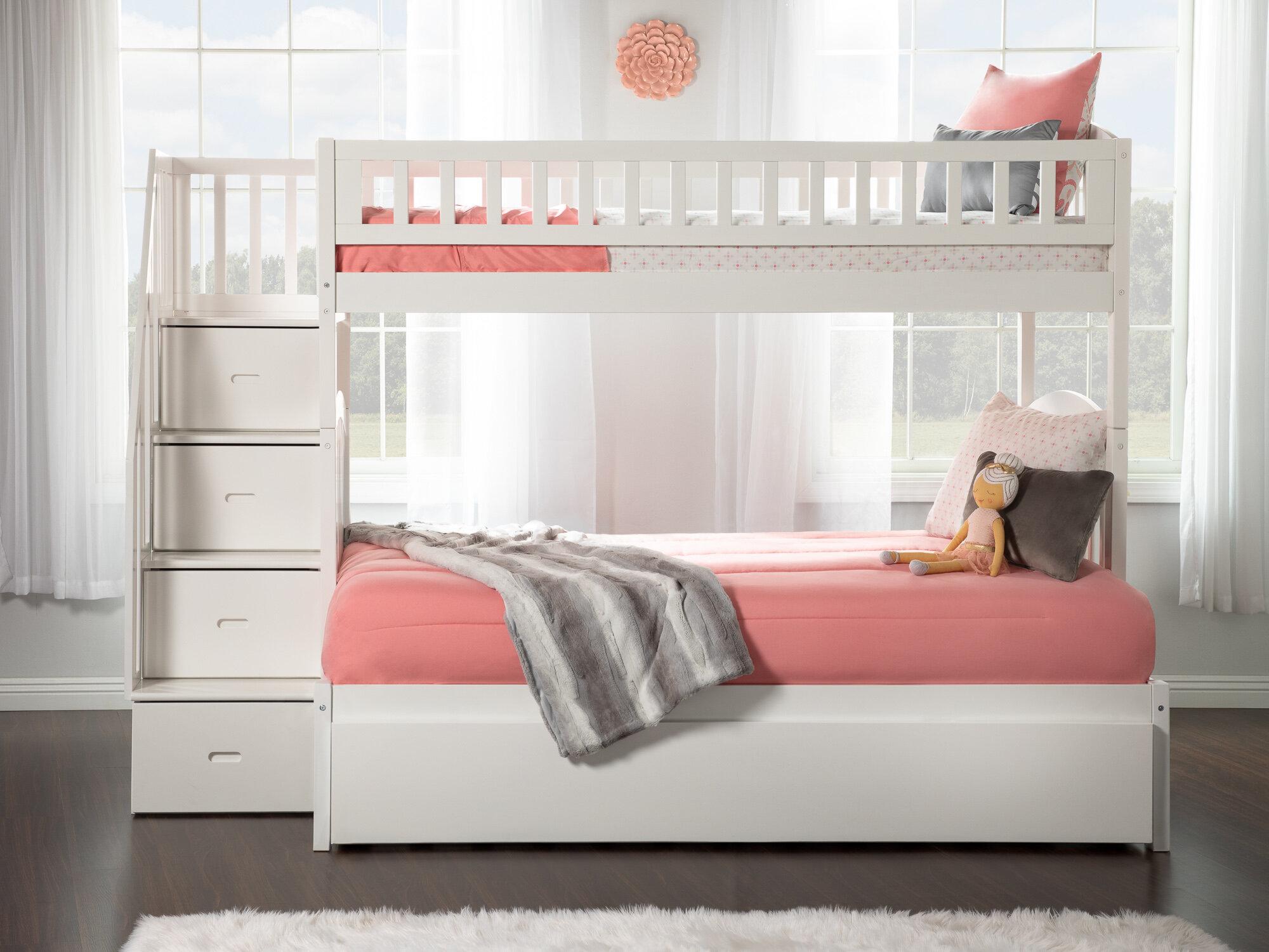 Lit Superposé Marche Escalier lit simple superposé au dessus d'un lit double avec tablettes escalier  simmons