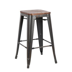 Peeples Solid Wood Bar Stool Set of 4 by Williston Forge
