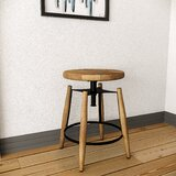 Zadie Mango Wood Adjustable Height Bar Stool by Williston Forge