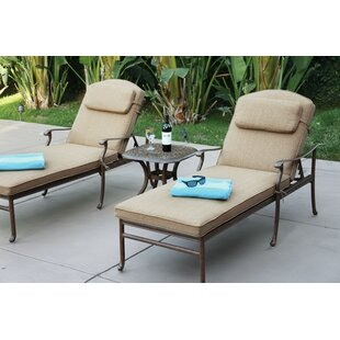 Alcott Hill Thompson 3 Piece Chaise Lounge Set with Cushions