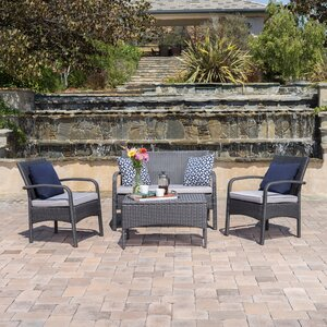 Jeffrey 4 Piece Deep Seating Group with Cushion