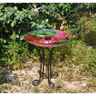 Hi-Line Gift Ltd. Floral Glass Hummingbird Solar Birdbath with Stand