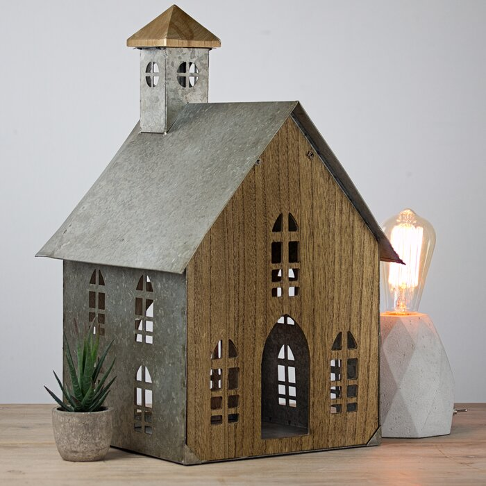Penrod Wood and Metal Church Farmhouse Tabletop Decorative Bird House