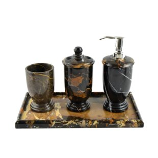 Nature Home Decor Michelangelo Marble 4 Piece Bathroom Accessory Set with Vanity Tray