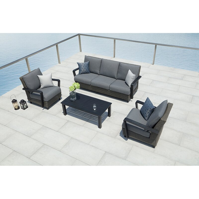 Augusta 4 Piece Sunbrella Sofa Set With Cushions