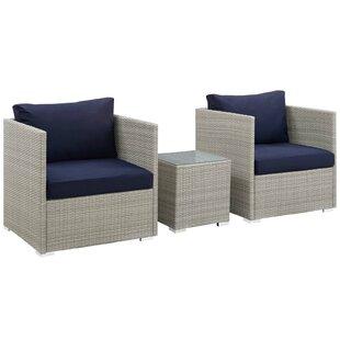 Highland Dunes Heinrich 3 Piece Sunbrella® Conversation Set with Cushions