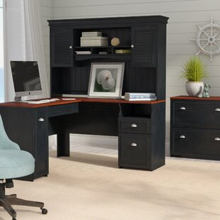Beachcrest Home Oakridge L-Shaped Executive Desk with Hutch