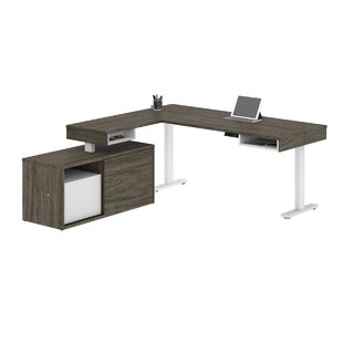 Hansel Pro-Vega Height Adjustable L-Desk in White and Black