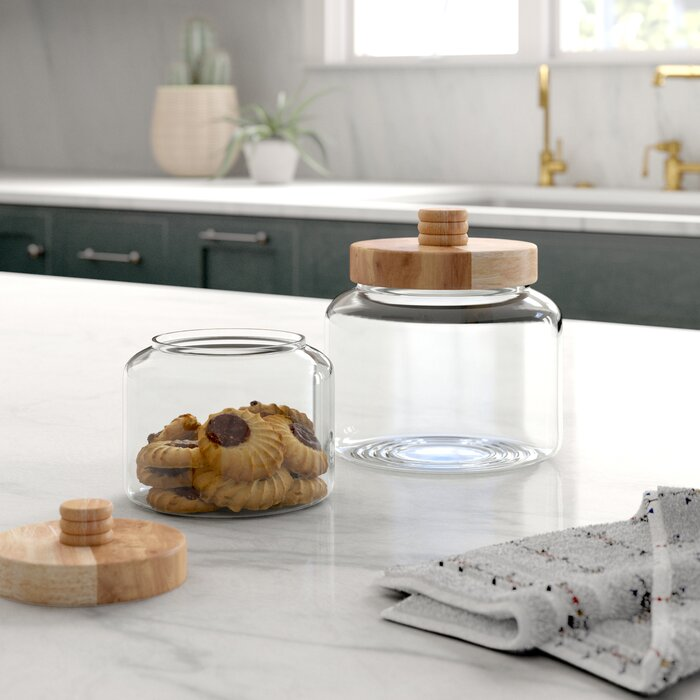 Modern Glass 5 Qt Kitchen Canister Set