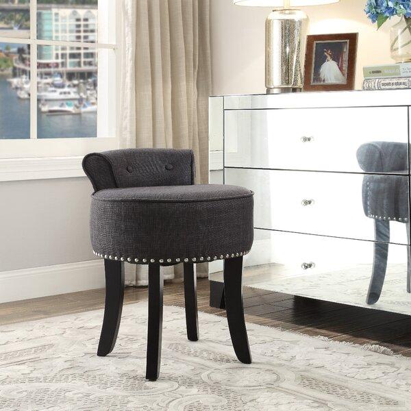Vanity stools with back Seat Wayfair Darby Home Co Emest Rolled Back Vanity Stool Wayfair