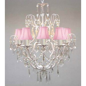 Clemence 5-Light White Crystal Chandelier