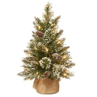 24 green pine artificial christmas tree with 15 led colored and warm white lights with stand