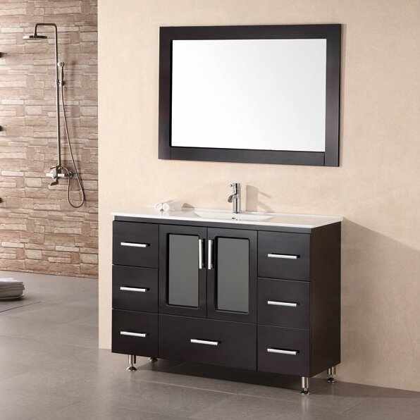 Pratt 48 Single Modern Bathroom Vanity Set With Mirror
