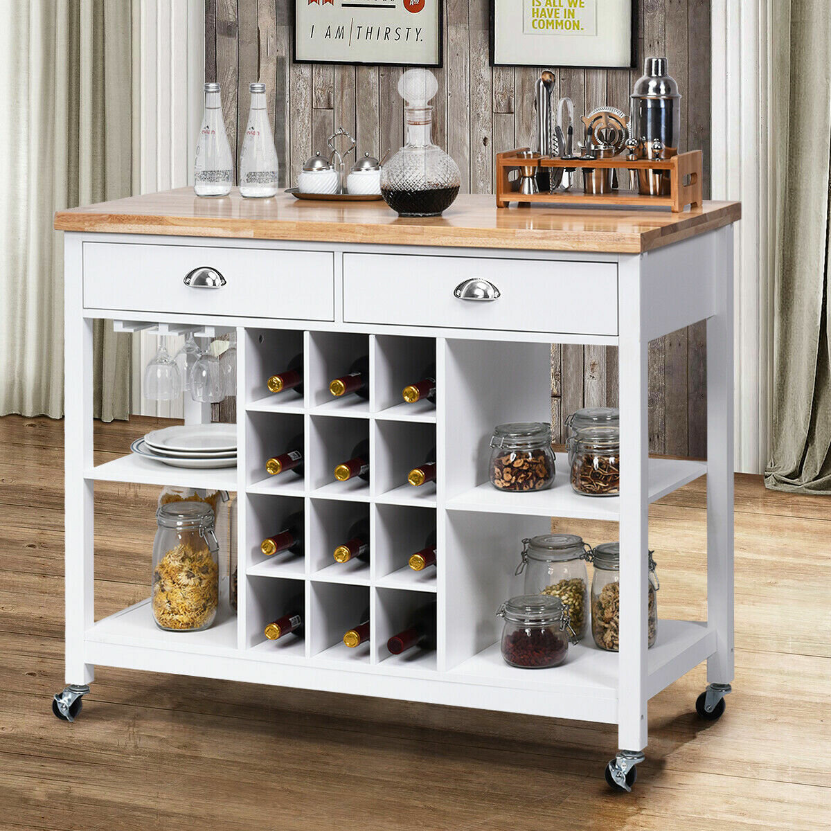 Gloriann Rolling Kitchen Cart