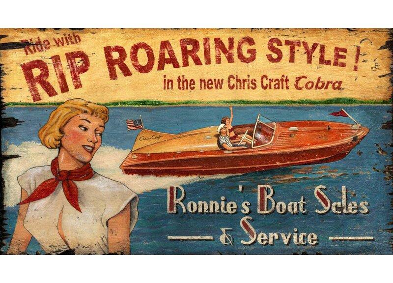 Highland Dunes Chris Craft Vintage Advertisement Plaque Reviews Wayfair