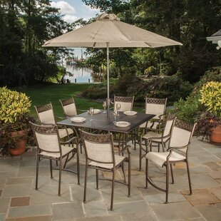 Doucette 9 Piece Bar Height Dining Set With Umbrella