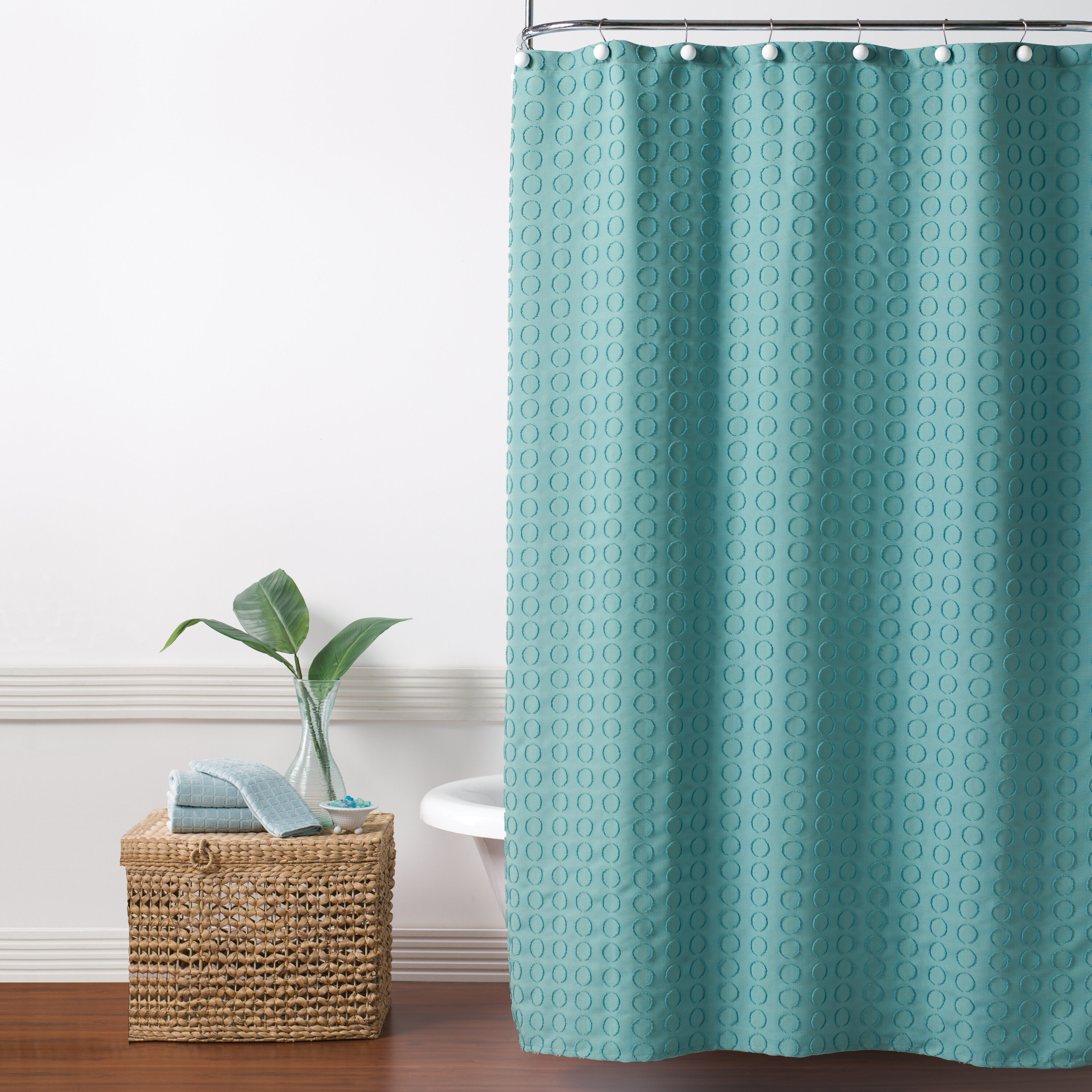 Picture of: Ebern Designs Hertel Clipped Circle Fabric Single Shower Curtain Reviews Wayfair