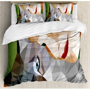East Urban Home Animal Geometric Mosaic Little Cute Cat and Owner Women Smiling Sleeping Couple Image Duvet Set