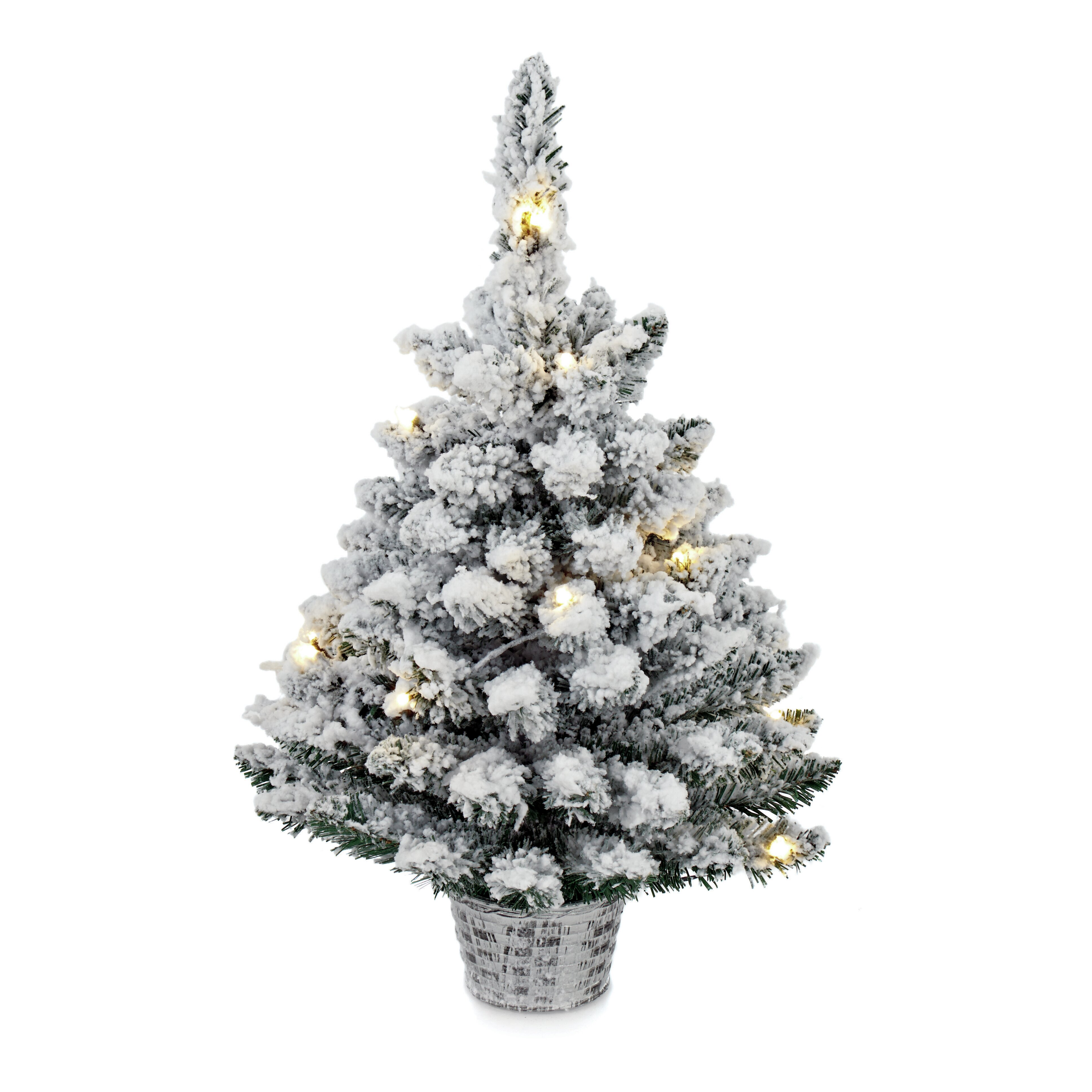 Flocked Pre Lit Christmas Tree.Pre Lit Flocked 2ft Green Artificial Christmas Tree With 15 White Lights With Basket