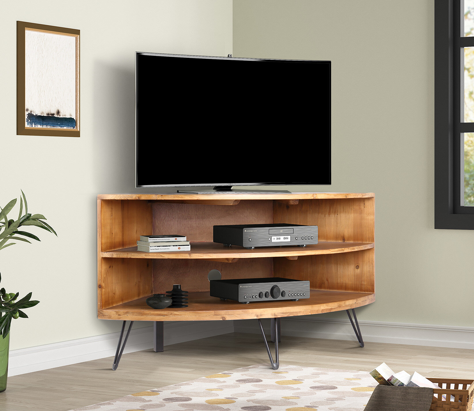 Lockheart Solid Wood Corner TV Stand for TVs up to 20