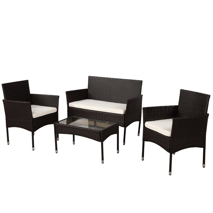 Darrington 4 Piece Rattan Sofa Seating Group With Cushions