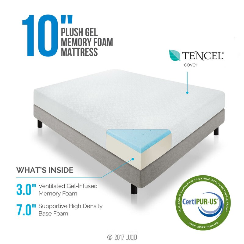 Lucid 10 Medium Gel Memory Foam Mattress Reviews Wayfair