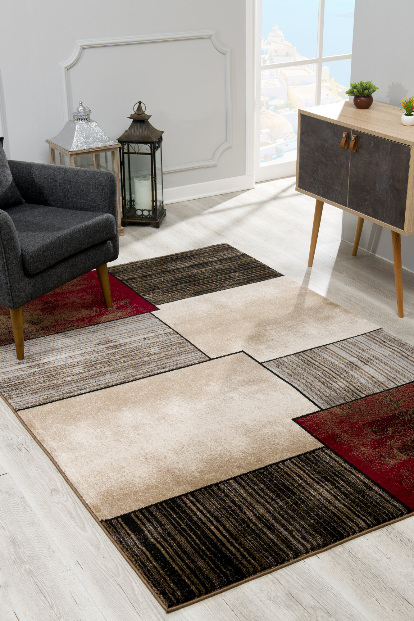 Ebern Designs Barrville Abstract Gray Beige Area Rug Reviews Wayfair