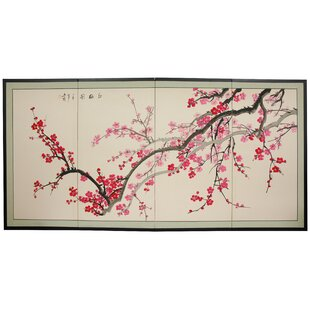 World Menagerie Clarette Plum Blossom 4 Panel Room Divider