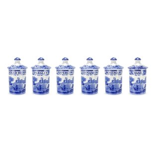 Blue Italian Spice Jars (Set of 6)