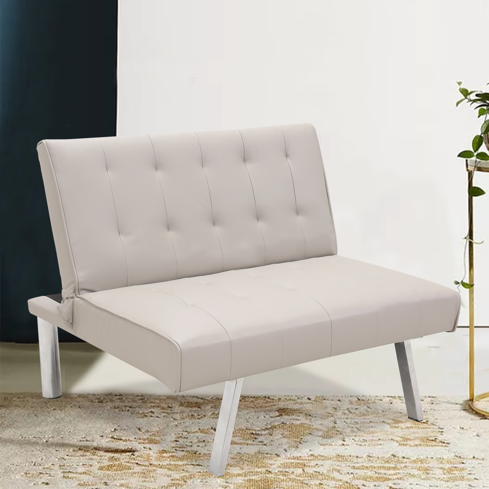 Wrought Studio Pu Leather Convertible Folding Sofa Chair Single Futon Sofa Couch