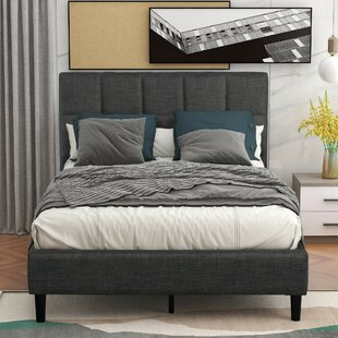 Blaiden Twin Tufted Solid Wood and Upholstered Low Profile Platform Bed by Latitude Run