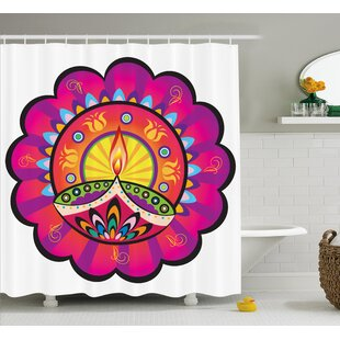 Ewing Floral Paisley Design With Oriental Details and Indian Diwali Candles Print Single Shower Curtain
