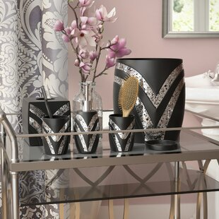 Willa Arlo Interiors Rivet 6 Piece Black/Silver Bathroom Accessory Set