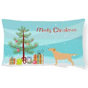 Labrador Retriever Merry Christmas Tree Indoor/Outdoor Lumbar Pillow