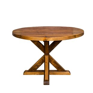 Mill and Foundry Round Trestle Farm Solid Wood Dining Table Napa East Collection