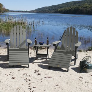 Detrick Plastic Adirondack Chair with Ottoman (Set of 5)
