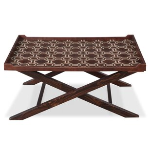 Sarreid Ltd Leather Coffee Table with Tra..