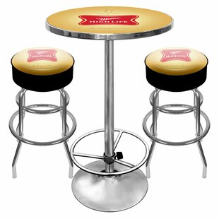 Ultimate Miller High Life 3 Piece Pub Table Set Trademark Global