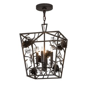Meyda Tiffany Greenbriar Oak Kitzi Pinecone 4-Light Lantern Pendant