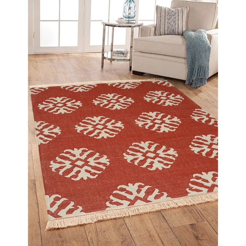 Canora Grey Gympie Hand Knotted Wool Red Beige Rug Wayfair